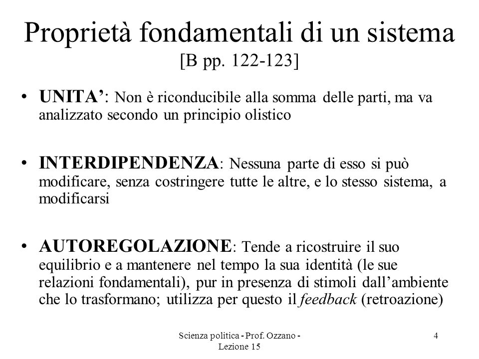 Proprietà fondamentali di un sistema [B pp. 122-123]